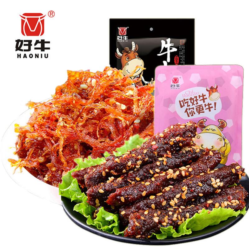 好牛 四川特产 休闲零食超值套餐组合208g(灯影牛肉丝108g+麻辣牛肉干麻辣味100g)